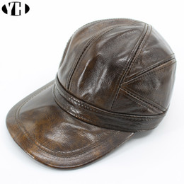 2c6cc869f0f5c Gorra de béisbol del sombrero del cuero genuino de 2018 hombres de la marca  marca Newsboy   sombrero de la boina gorras calientes del invierno sombreros  ...