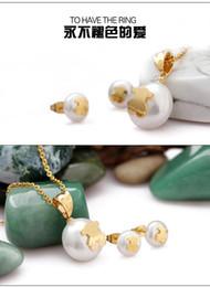 Collar de cuello alto para las mujeres online-Nueva cadena de eslabones de oro y plata collar de perlas joyas conjunto de acero inoxidable pendiente del collar de alta calidad para mujeres regalo del partido
