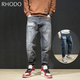 Новые мужские пэчворк сращивания ретро свободные эластичные джинсовые брюки гарем конус подходят мешковатые джинсы 28-42 от