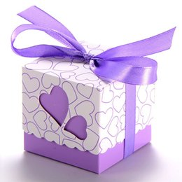 Wholesale Candy Shaped Pillows - 100pcs Double Hollow Love Heart Design Wedding Favor Candy Boxes Gift Boxes with Ribbons Kraft Pillow Shape Party Candy Box