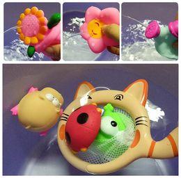 brinquedos de peixes flutuantes Desconto Brinquedo do banho do miúdo Animais Brinquedos de Água Brinquedos de pesca Coleira de gato Colorido Macio Float Squeeze Som Squeaky Brinquedo de Banho Para O Bebê Água Jogar Brinquedo