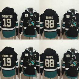 San jose haifisch sweatshirts online-San Jose Haie Hockey Hoodie 19 Joe Brent Burns Jerseys 100% genähte Stickerei Logos Hockey Sweatshirt Mix Order