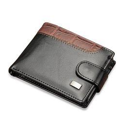 Wholesale Black Portfolio - Patchwork oil wax Leather Men short Wallet retro small hasp male purse Coin card Pocket portfolio cartera Money Bag for boy