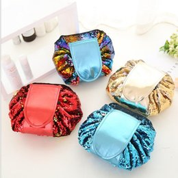 Wholesale Eco Friendly Cosmetic Bag Wholesale - Sequin Vely Vely Lazy Cosmetic Bag Makeup Pouch Portable Drawstring Large Capacity Multifunction Travel Organizer Storage Case KKA4177