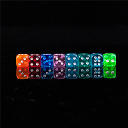 Wholesale game points - New 100pcs 16MM Dice Transparent Color Point 1-6 Digital Automatic Game KTV Dice Acrylic Gambing Dices