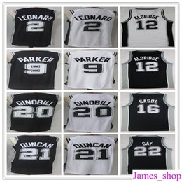 Wholesale Manu Black - 2017 2018 New #2 Kawhi Leonard Jersey Black White 12 LaMarcus Aldridge 9 Tony Parker 22 Rudy Gay 20 Manu Ginobili Basketball Jerseys