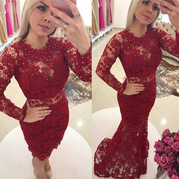 Wholesale Detachable Train Prom - Burgundy Lace Mermaid Prom Evening Dresses 2018 With Overskirt Detachable Train Sheer Neck Beads Long Sleeves Party Gowns