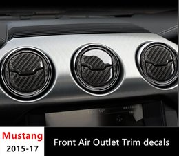 Wholesale interior air conditioners - Carbon Fiber Console Air Conditioner Outlet Panel Cover Trim For Ford Mustang 2015- 2017 Interior Decor Air Vents Frame Car Styling