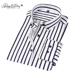 Wholesale Men S Clothing Formal Dress - DAVYDAISY High Quality 100% Cotton Men Shirt Long Sleeve Classical Stripe Male Formal Shirts Brand Clothes Dress Shirt Man DS108
