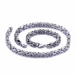 bracelete dos homens byzantine Desconto 5mm / 6mm / 8mm de largura de Prata Em Aço Inoxidável Rei Byzantine Cadeia Colar Pulseira Mens Jóias Feitas À Mão