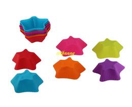 Moldes para hornear estrellas online-100 unids / lote envío gratis colorido de cinco puntas en forma de silicona muffin casos molde moldes de la torta de la magdalena Liner molde