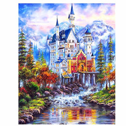 Wholesale fairies oil paintings - DIY pictures on canvas diy digital oil painting by numbers Wall art home decor Beautiful Fairy tale castle szyh6936