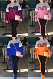 Wholesale Girls Hooded - Pink Letter Print Women Hoodie and Long Pants 2pcs Set Ladies Girls SweatShirts and Trousers Suit Spring Autumn Tracksuit Casual Sportswear