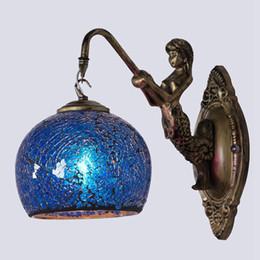 Verspiegelte nachttischlampen online-OOVOV Retro Europäische Bedsides Mosaiken Wandleuchte Flur Treppen Balkon Tiffany Wandleuchte Badezimmerspiegel Lichter