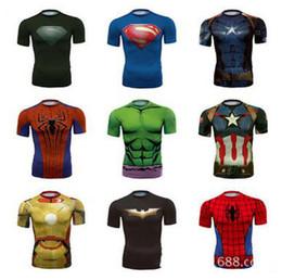 Wholesale Cotton Spiderman Costume - Superhero Tights T-Shirt Superhero Spiderman Captian American Sport Shirts Quick Drying Tees Cosplay Costume Superhero Tops Tights