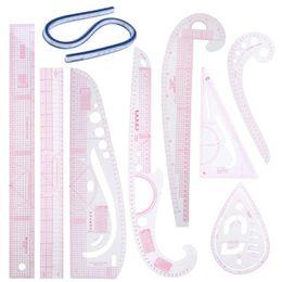 9 PZ rosa Collare Disegno Sarto Curva Yardstick Strumenti Per Cucire Taglio Righello Sarto Righello Curva Yardstick Strumenti di Cucito Accessorio da vestito di modo dell'uomo fornitori