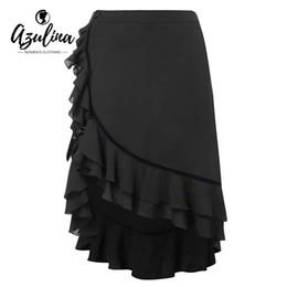 2019 повседневные высокие низкие юбки AZULINA Plus Size High Low Flounce Skirt Women Fall Spring Black Buckle Asymmetrical Skirts Casual Skirt Big Size Women Bottoms дешево повседневные высокие низкие юбки