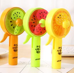 Wholesale left hand wholesalers - Watermelon Colored Print Mini Fans Summer Kids Hand Held Pressure Soft Leaves Fans Children Cool Outdoor Toys Gift GGA487 150pcs
