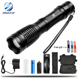Wholesale cree led torch focus - CREE XML-T6 L2 LED Tactical Flashlight 8000 Lumens Porable Torch 5 Mode Adjustable Focus Water Resistant use 18650 battery