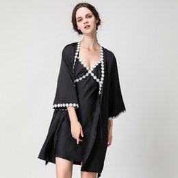 Ladies Sexy Silk Satin Robe Gown Set Women s Sleep Lounge Lace Bathrobe Set  Summer Sleepwear Nightwear 2 Pieces ada466d8636c