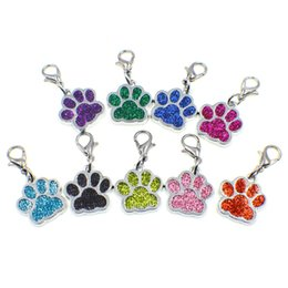 Подвеска для собаки онлайн-30PCS Colorful Glitter Dog Footprints Lobster Clasp Pendant Necklace Charms DIY Jewelry Keychains Accessories Gift For Party