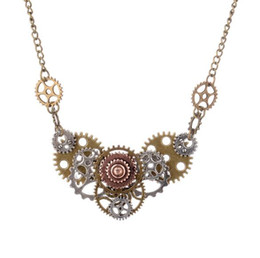 Wholesale Diy Steampunk - JLN Hand Connected Steampunk Necklace Different Gears DIY Vintage Fashion Jewelry Gift For Man Woman