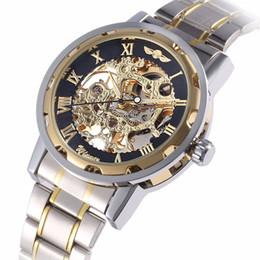 Победитель механический метр ручной моды бизнес часы гравировка пространство золотой стальной ремешок роскошные спортивные мужские часы от Поставщики android gsm smartwatch