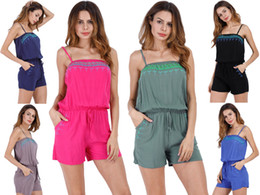 Wholesale Black Female Jumpsuit - Women Jumpsuits Summer Sexy Strap Jumper Retro Embroidery Decoration Female Short Suits Casual Vacation Style Clothing