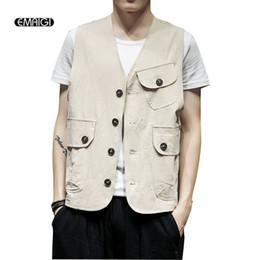 becc7a82ba751 Men Summer Casual Vest Jacket Male Solid Color Sleeveless Coat Japan Style  Fashion Waistcoat Outerwear Plus Size M-5XL