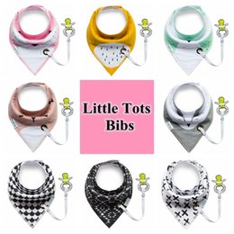 Wholesale Newborn Products - Little Tots Toddler Baby Bibs with Pacifier Clip Pure Cotton Double Layer Saliva Towel Triangle Scarf Newborn Products CCA9101 100pcs