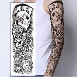 Wholesale poker designs - Temporary Tattoo Sticker Skull clown Poker clock Design Full Flower Arm Body Art Beckham Big Large Fake Tattoo Sticker New