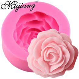 Fimo lehmformen online-Großhandel 3D Rose Blume Kerze Silikonform für Fondant Kuchen Dekorieren Tools Zuckerfertigkeit Schokolade Candy Fimo Ton Seifenformen