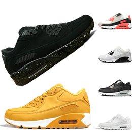 new arrivals 93945 fafaa Nike Air Max 90 image réelle voir description de course pas cher pour hommes  femmes 90 causal Chaussures Triple Black Red White Trainer nouvelle belle  sport ...