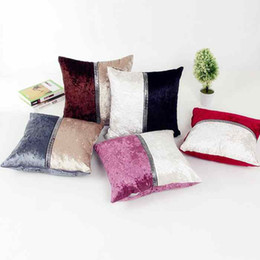 Wholesale stitch car covers - Fashionable Double Color Stitching Plush Pillowcase Sofa Car Pillow Case Cushion Cover 45*45CM Home Office Cafe Decoration Gift for Friend