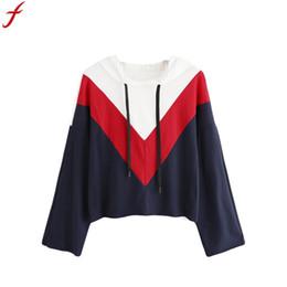 11785f7eb98d Sudadera con capucha de Patchwork en negro y rojo de moda de invierno Sudadera  con capucha de manga larga en otoño de Hood de manga larga de mujer