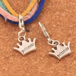 Aragoste online-Principessa corona aragosta artiglio catenaccio perline di fascino 23.9x13.2mm 100 pz argento antico gioielli fai da te c029