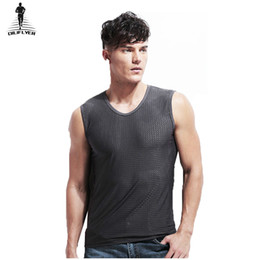 0c86649ec0bf8 Diliflyer 2018 Men s Ice Silk Mesh Vest Hollow Breathable Sleeveless V-neck  Wide Shoulder Tank Top Plus Size Casual Tops