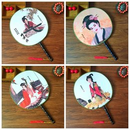 Wholesale Personalized Wedding Fans - Handle Round Retro Hand Fan Decoration Chinese Handmade Personalized Mulberry Silk Fans For Wedding Favor Gift 2 4xx Z
