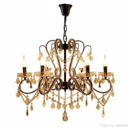 Lustre de ferro preto vintage on-line-Luzes pingente de cristal de ferro K9 lustre de cristal luminárias E14 preto lustres de decoração para casa 5/8/10 cabeças para sala de estar / quarto