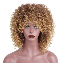 mistura de cor de cabelo castanho preto Desconto Cabelos AISI Perucas Sintéticas Afro Kinky Curly Peruca para As Mulheres Negras de Várias Cores Loira e Marrom Curto Peruca Natural Encaracolado com Franja