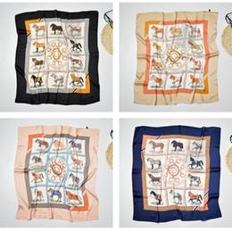 Wholesale Horse Silk Scarf Square - New Design Silk Scarf Women 70*70 Square Silk Scarf cute horse Multi-functional Bag Adornment Scarves Foulard Bandana