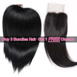 Wholesale Buy Closure - Ishow Hair Big Spring Sales Promotion Buy 3 Bundles Brailizan Peruvian Malaysian Straight Hair Get 1 Free Lace Closure Natural Color