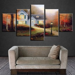 art cottages NZ - HD Prints Living Room Wall Art Canvas Painting Frame 5 Pieces Village Cottage Classic Poster Modular Scenery Pictures Home Decor