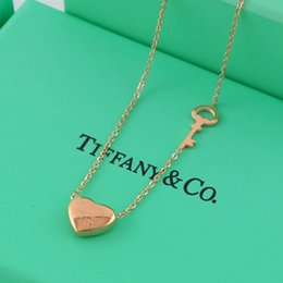 Wholesale Gold Key Necklaces For Women - New arrival Top quality 316L Titanium steel punk heart pendant and key shape necklace for women christmas gift jewelry free shipping PS602