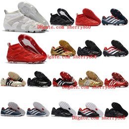 Wholesale Mens Laced Leather Boots - 2018 mens turf soccer cleats indoor soccer shoes Crampons de football boots predator mania Precision Accelerator DB David Beckham FG Gold