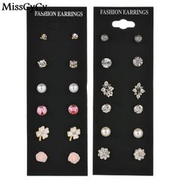 Wholesale rhinestone bow earrings - MissCyCy 6 Pairs Lot Mixed Multi Stud Earrings Rhinestone Lightning Bow Flower Earrings For Women Vintage Jewelry Wholesale