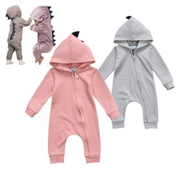 Wholesale Girls Dinosaur Costume - Baby Rompers Autumn Long Sleeve Newborn Baby Boy Girl Dinosaur Costume Romper Playsuit Baby Clothes Hooded Cute Clothing