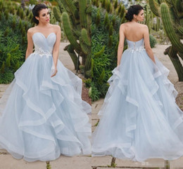 Wholesale corset back style wedding dress - 2018 Simple Style Skye Blue A Line Wedding Dresses Sweetheart Neck With White Lace Ruffles Train Corset Back Boho Beach Bridal Party Gowns