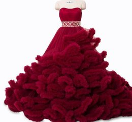 Wholesale Strapless Wedding Dresses Vests - Real photo winter Luxury Pregant Top Quality Lace Up Cloud puffy Wedding Dress Burgundy Bridal Gowns Robe De Mariage Rouge 2018