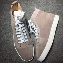 Wholesale Best Quality Denim - Cheap Sale 2 Quality Sale Classic Suede Sneakers Red Sole Men Shoes Spikes Men's Flat Hightop Trainers Sneaker,High quality and Best Quality